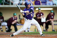 LSU Tigers third baseman Tyler Hanover #11 at bat against the Mississippi State Bulldogs during the NCAA baseball game on March 17, 2012 at Alex Box Stadium in Baton Rouge, Louisiana. The 10th-ranked LSU Tigers beat #21 Mississippi State, 4-3. (Andrew Woolley / Four Seam Images).