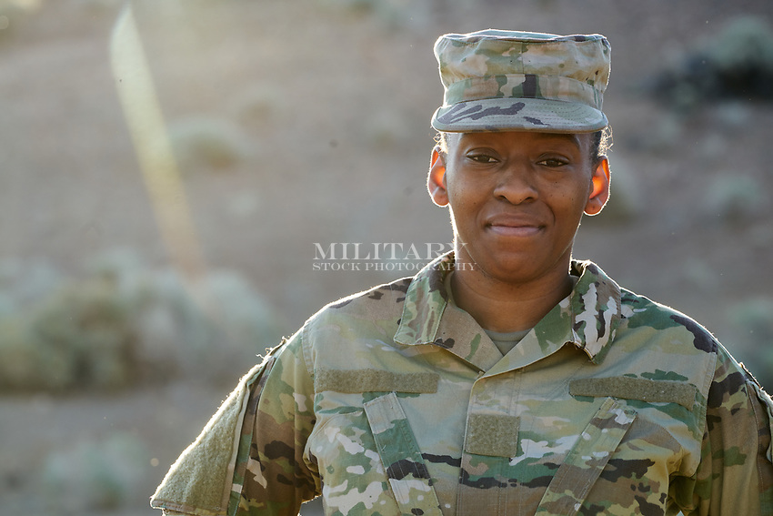 Solo protrait of a young female soldier. For sale for advertising. Model released, DOD compliant for commercial use.