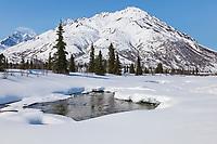 Winter in the Alaska Range mountains near broad pass, Interior, Alaska.