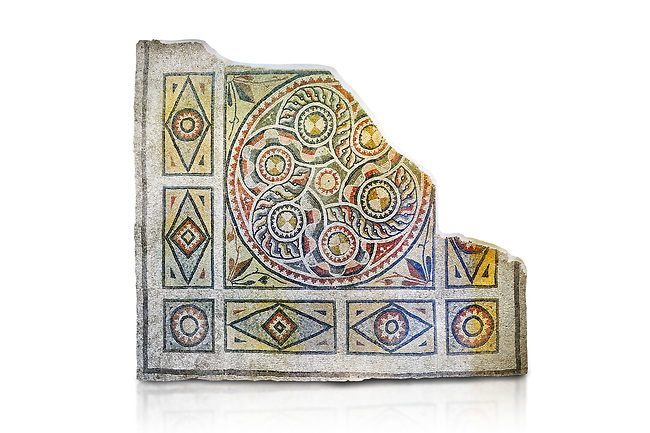 Roman mosaics - Geometric Mosaic. The Giyoslu Villa. Ancient Zeugama, 2nd - 3rd century AD . Zeugma Mosaic Museum, Gaziantep, Turkey.  Against a white background.