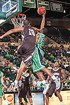 North Texas Mean Green guard Roger Franklin (32) and Lehigh Mountain Hawks guard B.J. Bailey (10) in action during the game between the Lehigh Mountain Hawks and the North Texas Mean Green at the Super Pit arena in Denton, Texas. Lehigh defeats UNT 90 to 75...