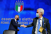 ROME, ITALY - FEBRUARY 22:  (L-R) FIGC President Gabriele Gravina and Vice President Cosimo Sibilia attend the FIGC Elective Assembly at Cavalieri Waldorf Astoria Hotel on February 21, 2021 in Rome, Italy. <br /> Photo Marco Rosi / FIGC / Insidefoto