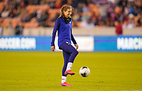HOUSTON, TX - JANUARY 31: Tobin Heath #17 of the United States warms up during a game between Panama and USWNT at BBVA Stadium on January 31, 2020 in Houston, Texas.