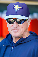 Tampa Bay Rays Manager Joe Maddon talks with reporters prior to the Major League Baseball game against the Detroit Tigers at Comerica Park on June 4, 2013 in Detroit, Michigan.  The Tigers defeated the Rays 10-1.  Brian Westerholt/Four Seam Images