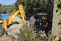 "Pictured: Special forensics police officers search a field in Kos, Greece. Wednesday 28 September 2016<br /> Re: Police teams searching for missing toddler Ben Needham on the Greek island of Kos have said they are ""optimistic"" about new excavation work.<br /> Ben, from Sheffield, was 21 months old when he disappeared on 24 July 1991 during a family holiday.<br /> Digging has begun at a new site after a fresh line of inquiry suggested he could have been crushed by a digger.<br /> South Yorkshire Police (SYP) said it continued to keep an ""open mind"" about what happened to Ben."
