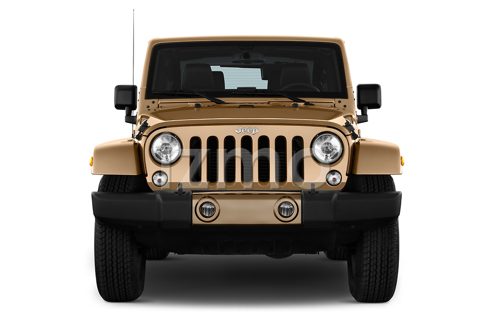 Car photography straight front view of a 2017 JEEP wrangler Sahara 5 Door SUV Front View