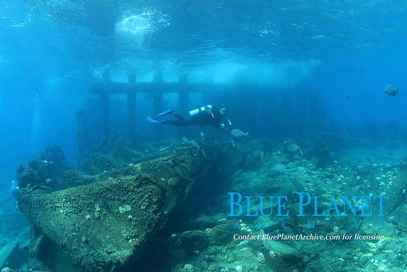 shipwreck, water barge, Channel at Midway atoll, Papahanaumokuakea Marine National Monument, Northwestern Hawaiian Islands, Hawaii, USA, Pacific Ocean
