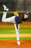 Luke Farrell #52 of the Northwestern Wildcats in action against the Wake Forest Demon Deacons at Gene Hooks Field on February 26, 2011 in Winston-Salem, North Carolina.  Photo by Brian Westerholt / Four Seam Images