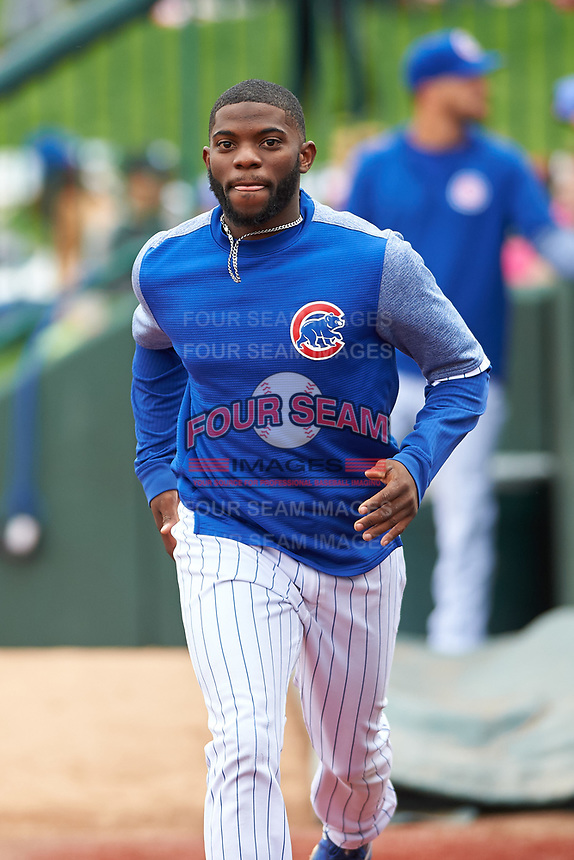 South Bend Cubs Delvin Zinn (3) during a Midwest League game against the Cedar Rapids Kernels at Four Winds Field on May 8, 2019 in South Bend, Indiana. South Bend defeated Cedar Rapids 2-1. (Zachary Lucy/Four Seam Images)