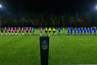 line-up team Aalst ( Henriette Awete (13) , Stephanie Van Gils (10) , Niekie Pellens (14) , Annelies Van Loock (9) , Valentine Hannecart (8) , Margaux Van Ackere (7) , Tiffanie Vanderdonckt (5) , Loes Van Mullem (3) , Naomi De Wolf (2) , Goalkeeper Silke Baccarne (1) , Chloe Van Mingeroet (6) ) , assistant referee Joline Delcroix , referee Caroline Lanssens , assistant referee Ella De Vries , team Genk ( Sien Vandersanden (10) , goalkeeper Joséphine Delvaux (1) , Lotte Van Den Steen (15) , Lorene Martin (6) , Silke Sneyers (2) , Fleur Pauwels (66) , Sterre Gielen (14) , Gwen Duijsters (13) , Luna Vanhoudt (43) , Emily Steijvers (33) , Hanne Merkelbach (25) ) pictured before a female soccer game between  Racing Genk Ladies and Eendracht Aalst on the 15 th matchday of the 2020 - 2021 season of Belgian Scooore Womens Super League , friday 5 th of March 2021  in Genk , Belgium . PHOTO SPORTPIX.BE   SPP   STIJN AUDOOREN