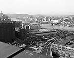 Pittsburgh PA: View of the Allegheny River, bridges, and train tracks from the roof of the Pennsylvania Railroad Station.