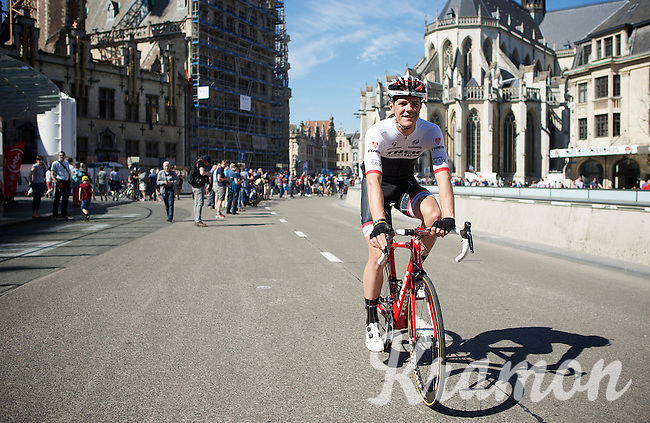 local boy Jasper Stuyven (BEL/Trek Factory Racing) riding through his city of Leuven coming back from sign-in<br /> <br /> 55th Brabantse Pijl 2015