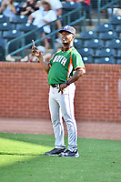 Paco Martin of the Asheville Tourists during the home run derby as part of the All Star Game festivities at First National Bank Field on June 19, 2018 in Greensboro, North Carolina.(Tony Farlow/Four Seam Images)