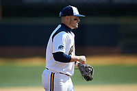 Quinnipiac Bobcats third baseman Joseph Burns (4) on defense against the Radford Highlanders at David F. Couch Ballpark on March 4, 2017 in Winston-Salem, North Carolina. The Highlanders defeated the Bobcats 4-0. (Brian Westerholt/Four Seam Images)