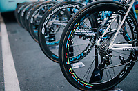 World Champion Alejandro Valverde's Campagnolo rainbow wheels at the race start in Bergamo<br /> <br /> 112th Il Lombardia 2018 (ITA)<br /> from Bergamo to Como: 241km