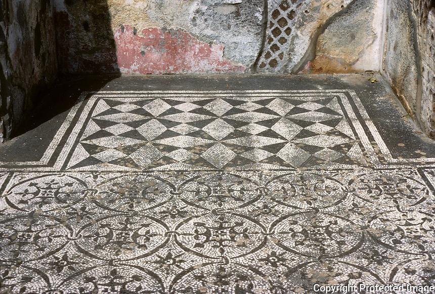 Italy: Tivoli--Hadrian's Villa. Small room off hospital or infirmary, mosaic floor. Photo '83.