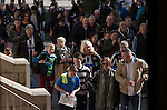 Newcastle United 1 Tottenham Hotspur 3 19/04/2015. St James Park, Premier League. Home team supporters making their way into the ground at the Milburn Stand before Newcastle United host Tottenham Hotspurs in an English Premier League match at St. James' Park. The match was boycotted by a section of the home support critical of the role of owner Mike Ashley and sponsorship by a payday loan company. The match was won by Spurs by 3-1, watched by 47,427, the lowest league gate of the season at the stadium. Photo by Colin McPherson.