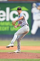Bowling Green Hot Rods starting pitcher Michael Mercado (30) delivers a pitch during a game against the Asheville Tourists on May 27, 2021 at McCormick Field in Asheville, NC. (Tony Farlow/Four Seam Images)