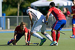 GER - Mannheim, Germany, October 02: During the men hockey match between Mannheimer HC (red) and HTC Uhlenhorst Muehlheim (white) on October 2, 2016 at Mannheimer HC in Mannheim, Germany. Final score 4-4 (HT 1-3). (Photo by Dirk Markgraf / www.265-images.com) *** Local caption *** Jan-Philipp Fischer #8 of Mannheimer HC
