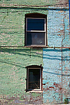 In historic downtown Palouse, WA, the brick wall of an antique shop speaks for the hardscrabble and friendly character of the village in the Palouse Hills of Washington State.