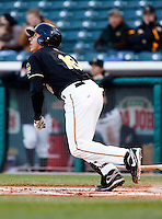 Salt Lake Bees first baseman Efren Navarro #16 during a game vs. Tacoma Rainiers on April 26, 2011 at Spring Mobile Ballpark in Salt Lake City, Utah. Salt Lake Bees were defeated by Tacoma 8-4.  Photo By Matthew Sauk/Four Seam Images