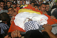 """Palestinian mourners carry the body of Mohammed Abu Herbet, 23, during his funeral in the town of Beit Hanoun, northern Gaza Strip, Sunday, Nov. 4, 2007. Israeli aircraft fired at a rocket-launching site in the northern Gaza Strip early Sunday, killing three civilians, including Abu Herbet, sleeping in a nearby storage container, Palestinian officials said. The Israeli military said the air strike targeted a rocket squad that attacked southern Israel earlier in the morning. """"phto by Fady Adwan"""""""