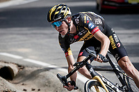 eventual stage winner Sepp Kuss (USA/Jumbo-Visma) in the descent of the Col de Beixalis<br /> <br /> Stage 15 from Céret to Andorra la Vella (191km)<br /> 108th Tour de France 2021 (2.UWT)<br /> <br /> ©kramon