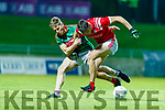 Peter Crowley, Mid Kerry in action against David Clifford, East Kerry during the Kerry County Senior Football Championship Final match between East Kerry and Mid Kerry at Austin Stack Park in Tralee on Saturday night.