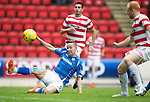 St Johnstone v Hamilton Accies...12.09.15  SPFL McDiarmid Park, Perth<br /> Steven MacLean is inches away from the ball as he slides in<br /> Picture by Graeme Hart.<br /> Copyright Perthshire Picture Agency<br /> Tel: 01738 623350  Mobile: 07990 594431