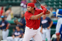 Clearwater Threshers Drew Stankiewicz (4) during the Home Run Derby before the Florida State League All-Star Game on June 17, 2017 at Joker Marchant Stadium in Lakeland, Florida.  FSL North All-Stars defeated the FSL South All-Stars  5-2.  (Mike Janes/Four Seam Images)