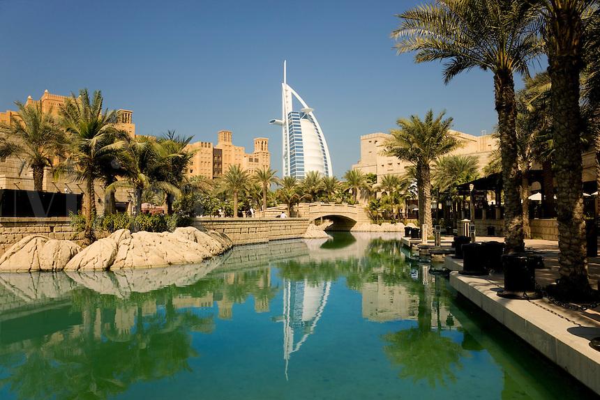 Dubai.  The Burj al Arab hotel, Mina a?Salam Hotel and Dubai Conference Centre/Center..
