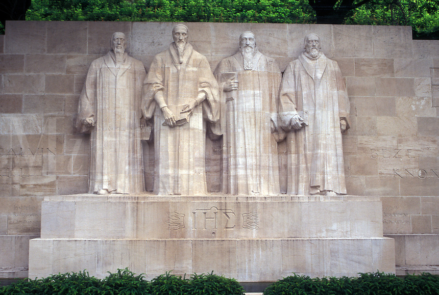 Geneva, Switzerland, Reformation Monument of Beze, Calvin, Farel and Knox along the Promenade des Bastions in the city of Geneva.
