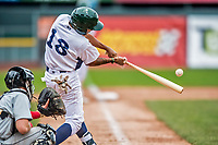 25 July 2017: Vermont Lake Monsters infielder Jesus Lage connects for a two-RBI double in the 7th inning against the Tri-City ValleyCats at Centennial Field in Burlington, Vermont. The Lake Monsters defeated the ValleyCats 11-3 in NY Penn League action. Mandatory Credit: Ed Wolfstein Photo *** RAW (NEF) Image File Available ***