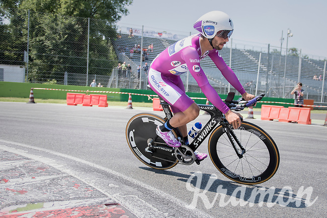 Fernando Gaviria (COL/Quick-Step Floors) out on the Autodromo Nazionale (Monza Race Circuit) for the closing time trial into Milano<br /> <br /> stage 21: Monza - Milano (29km)<br /> 100th Giro d'Italia 2017