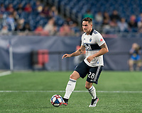 FOXBOROUGH, MA - JULY 18: Jakob Nerwinski #28 passes the ball during a game between Vancouver Whitecaps and New England Revolution at Gillette Stadium on July 18, 2019 in Foxborough, Massachusetts.