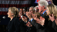Sen. Hillary Clinton rouses the crowd during a speech to supporters January 3, 2008 following her defeat to Sen. Barack Obama in the 2008 Iowa caucuses.