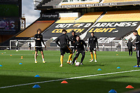 Wolverhampton Wanderers during the pre-match warm-up <br /> <br /> Photographer David Horton/CameraSport<br /> <br /> The Premier League - Wolverhampton Wanderers v Fulham - Sunday 4th October 2020 - Molineux Stadium - Wolverhampton<br /> <br /> World Copyright © 2020 CameraSport. All rights reserved. 43 Linden Ave. Countesthorpe. Leicester. England. LE8 5PG - Tel: +44 (0) 116 277 4147 - admin@camerasport.com - www.camerasport.com