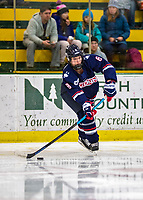 8 February 2020: University of Connecticut Husky Defender Kaitlyn Yearwood, a Freshman from Thornhill, Ontario, in second period action against the University of Vermont Catamounts at Gutterson Fieldhouse in Burlington, Vermont. The Huskies defeated the Lady Cats 4-2 in the first game of their weekend Hockey East series. Mandatory Credit: Ed Wolfstein Photo *** RAW (NEF) Image File Available ***