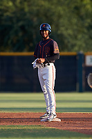 AZL Giants Black Jairo Pomares (16) stands on second base after hitting a double during an Arizona League game against the AZL Giants Orange on July 19, 2019 at the Giants Baseball Complex in Scottsdale, Arizona. The AZL Giants Black defeated the AZL Giants Orange 8-5. (Zachary Lucy/Four Seam Images)