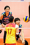 Haruyo Shimamura of Japan (R) passes the ball during the match between China and Japan on May 30, 2018 in Hong Kong, Hong Kong. (Photo by Power Sport Images/Getty Images)