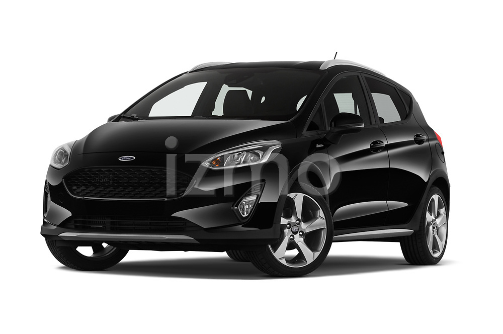Stock pictures of low aggressive front three quarter view of a 2019 Ford Fiesta  Active-3 5 Door Hatchback