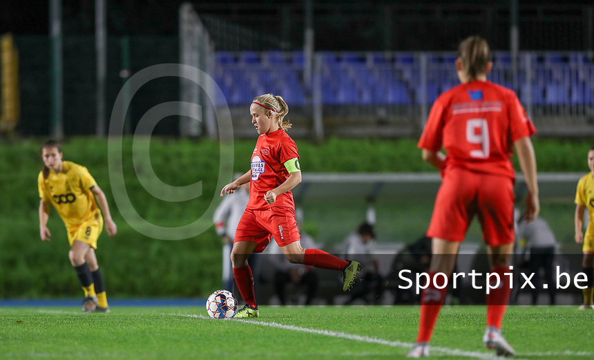Woluwe's Jana Simons (8) gives the first pass of of the match during a female soccer game between FC Femina WS Woluwe and Standard Femina de Liege on the fourth match day of the 2020 - 2021 season of Belgian Womens Super League , Friday 8th of October 2020  in Liege , Belgium . PHOTO SPORTPIX.BE | SPP | SEVIL OKTEM