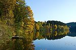 DEU, Deutschland, Bayern, Niederbayern, Naturpark Bayerischer Wald, bei Viechtach: Hoellensteinstausee, Bootssteg | DEU, Germany, Bavaria, Lower-Bavaria, Nature Park Bavarian Forest, near Viechtach: reservoir Hoellenstein Lake, landing stage
