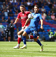 28th August 2021; Cardiff City Stadium, Cardiff, Wales;  EFL Championship football, Cardiff versus Bristol City; Ryan Giles of Cardiff City controls the ball on his chest
