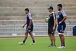 Rieko Ioane (L), Tabai Matson and Akira Ioane. Maori All Blacks Train. Suva, Fiji. July 9 2015. Photo: Marc Weakley