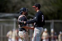 Ball State Cardinals catcher Chase Sebby (20) and relief pitcher Kyle Nicolas (19) celebrate closing out a game against the Saint Joseph's Hawks on March 9, 2019 at North Charlotte Regional Park in Port Charlotte, Florida.  Ball State defeated Saint Joseph's 7-5.  (Mike Janes/Four Seam Images)