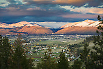 The Missoula, Montana valley looking across to Hellgate Canyon and Mount Sentinel and Mount Jumbo with snow on the upper hills
