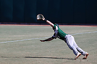 CARY, NC - FEBRUARY 23: Tyler Sanfilippo #8 of Wagner College drops a pop-up in foul territory during a game between Wagner and Penn State at Coleman Field at USA Baseball National Training Complex on February 23, 2020 in Cary, North Carolina.