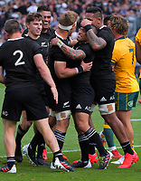 /The All Blacks celebrate Aaron Smith's try during the Bledisloe Cup rugby union match between the New Zealand All Blacks and Australia Wallabies at Eden Park in Auckland, New Zealand on Sunday, 18 October 2020. Photo: Dave Lintott / lintottphoto.co.nz