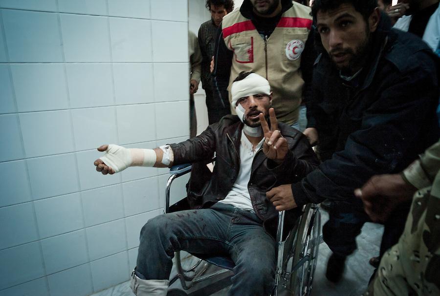 Rebel casualty in Ajdabiya Hospital, Ajdabiya, Libya.
